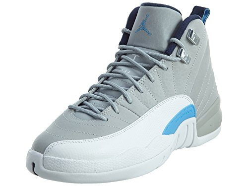 Jordan 12 Retro Big Kids Style, Wolf Grey/University Blue/Mid Navy, -