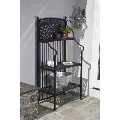 - Alfresco Home 22-2331-AZ Cast Aluminum Weave Outdoor Bakers Rack, Antique Topaz