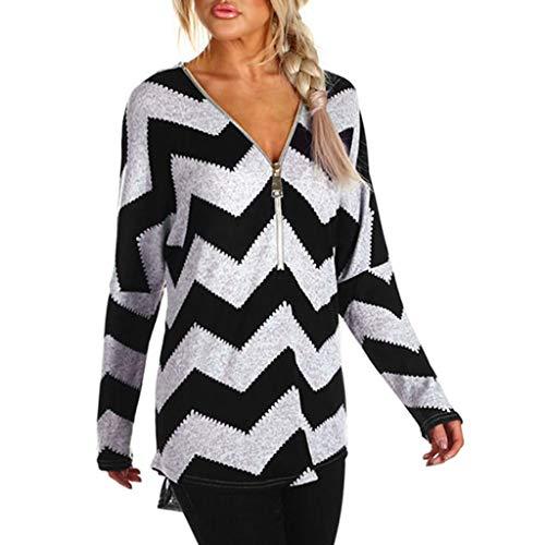Usstore  Women Wavy Stripes Top Plus Size Fall Winter Fashion Casual V-Neck Zipper Work Blouse Tee Shirt Pullover (XL, Black)