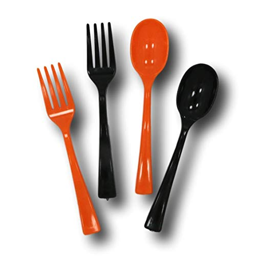 Halloween Mini Cocktail Forks and Spoons Party Appetizer Set - 50 Pieces