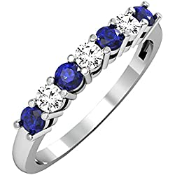 10K Gold Round Blue Sapphire and White Diamond 7 Stone Bridal Wedding Band