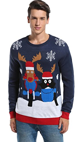 Daisy's BOUTIQUE Men's Christmas Reindeer Sweater Cute Ugly Pullover (Small, Reindeer+Penguin)]()