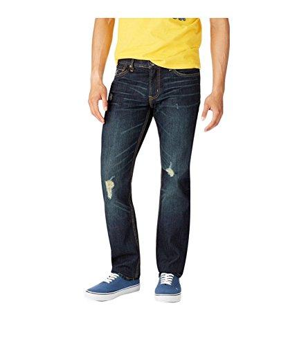 Aeropostale Mens Bowery Slim Straight Leg Jeans, Blue, 27W x 28L