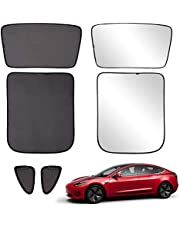 Xipoo Fit Tesla Model 3 Sun Shades Glass Roof Sunshade Sunroof Rear Window Sunshade Foldable for Tesla Model 3 Accessories Upgrade Two-Layer 6 Pcs (Black, Model 3 Full Cover)