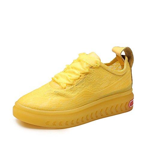 SBL Los Zapatos de Las Mujeres Respirables del Verano brotan los Zapatos de Seda del Paño con los Zapatos Casuales de la Moda de los Zapatos,Amarillo,38