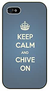 iPhone 5 / 5s Keep calm and chive on, blue - black plastic case / Keep calm