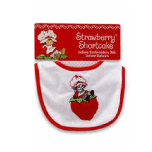 H6 Bib (Red Strawberry Shortcake On a Strawberry Infant Bib - Strawberry Shortcake Bib)