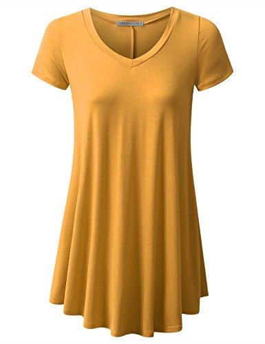 URBANCLEO Womens V-Neck Elong Tunic Top Mini T-Shirt Dress Mustard Small