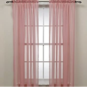Marvelous Rose Pink Sheer Window Panel Curtain (2) By Editex