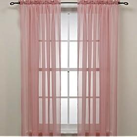 Rose Pink Sheer Window Panel