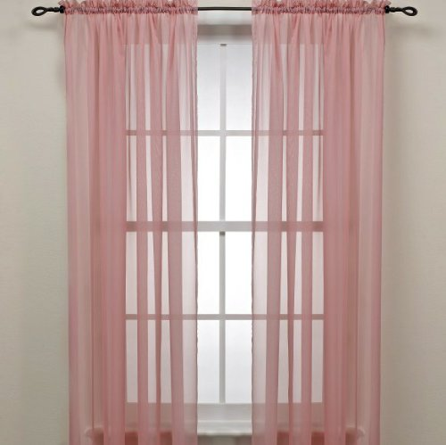 Rose Pink Sheer Window Panel Curtain (2) by (Rose Panel)