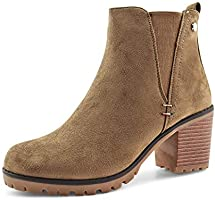 JABASIC Women Casual Suede Ankle Booties Block Heel Slip On Chelsea Boots