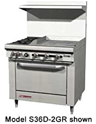 Southbend S36C 2TR S Series 36 Gas Restaurant Range W 2 Open Burners 24 Right Thermostatic Griddle Cabinet Base