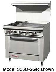 Southbend S36C 2GL S Series 36 Gas Restaurant Range W 2 Open Burners 24 Left Griddle Cabinet Base