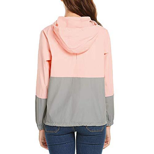 Womens Pink Thin Pockets Jacket Zipper Sleeve Down Luoluoluo Coats Hooded Sport Patchwork Long 4q7OwOgndB