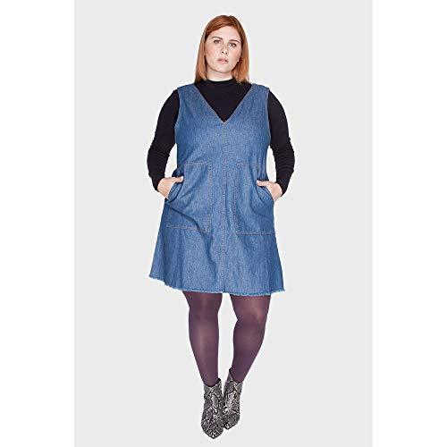 Vestido Bolsão Plus Size Azul-52