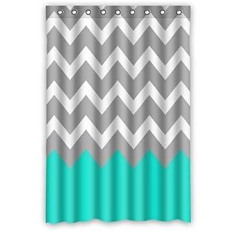 wonderful turquoise gray bathroom ideas | Amazon.com: Chevron Pattern Turquoise Grey White ...
