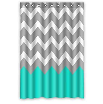 Chevron pattern turquoise grey white for Turquoise and grey bathroom accessories