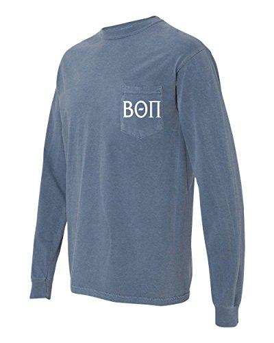 Print Bar AZ Beta Theta PI Fraternity Comfort Colors Pocket Long Sleeve Shirt (Medium, Blue Jean) -