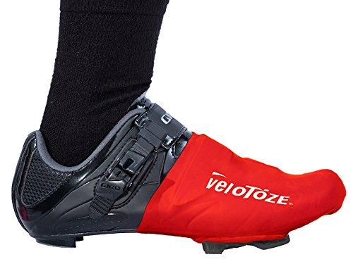 VELOTOZE–Puntera cubre ciclismo resistente al viento resistente al agua aerodinámicos, rojo, un tamaño rojo