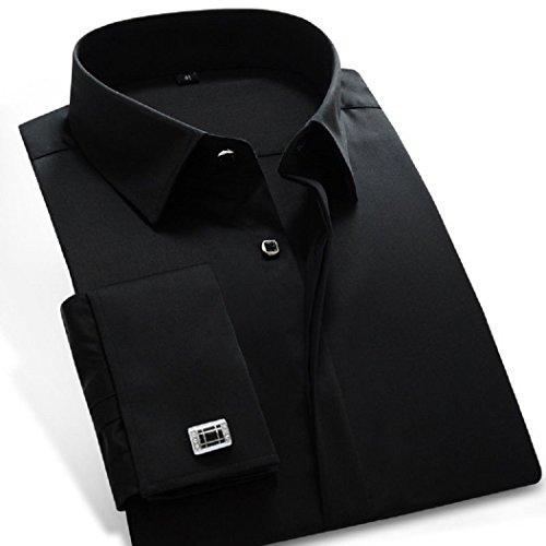 sweattang New Mens Formal Italian Designer Cufflinks French Cuff Dress Shirts (Black, XL)