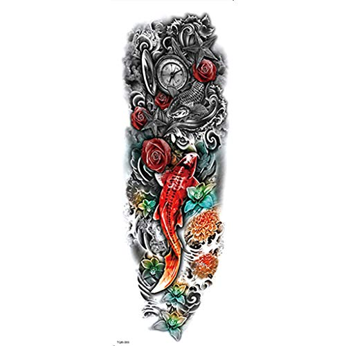 (kitt 24 Temporary Tattoo Sleeves, Large Arts Fake Black Full Arm Tattoo Stickers Designs Dragon, Fish, Skull, Tribal, Etc (M))