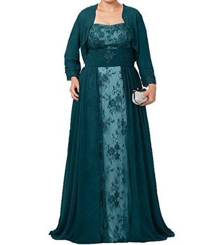 A Spitze Linie Tuerkis Langes Brautmutterkleider Kleider Abendkleider Formalkleider Chiffon Neu Damen Dunkel Ballkleider Charmant tB8wnzgfx8