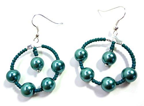 Hoop Silver Teal (Teal Green Emerald Glass Pearl Dangle Hoop Earrings)