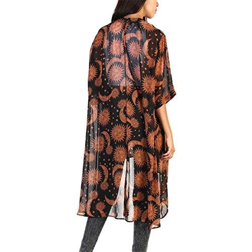 Patrón Outwear Braun Casuales Mujer Elegante Anchos Medias Joven Cómodo Outerwear Estampadas Mujeres Verano Battercake Abrigos Mangas Irregular Cardigan d0Yxfwdn