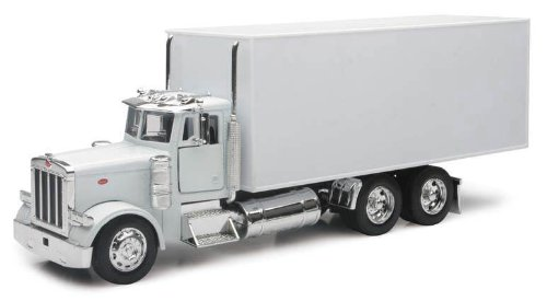 Peterbilt Tractor Trailer Diecast Toy - PETERBILT 379 Box Delivery Truck NEWRAY Diecast 1:32 Scale White