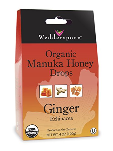 Wedderspoon Organic Manuka Honey Drops, Ginger + Echinacea, 4.0 Oz, Unpasteurized, Genuine New Zealand Honey, Perfect Remedy For Dry (Dry Organic Honey)