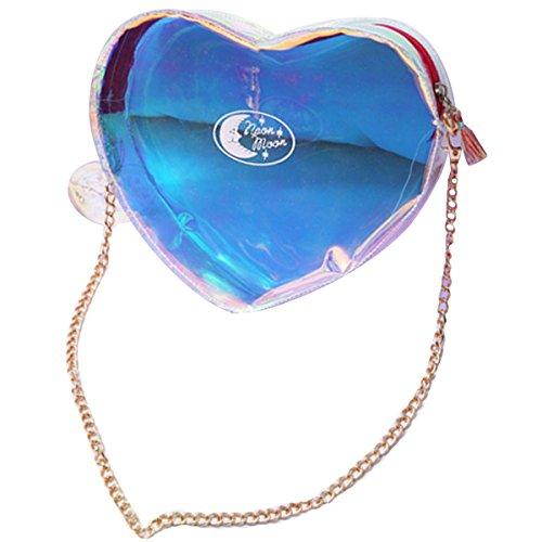 Rebecca Women Girls Transparent Laser Heart Shape Crossbody Bag Holographic Colorful Mini Tote Bag (Purple)