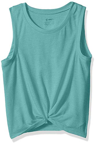 Soffe Girls' Big Squad Knotted Muscle Top, Dusty Turquoise Heather, X-Large
