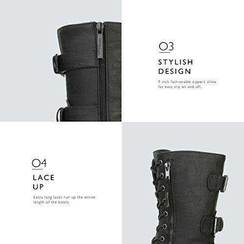 Card Up Buckle Exclusive Military High Credit Mid Combat Boots Pocket Women's Black Twlight Knee PU qUvE5nxqp