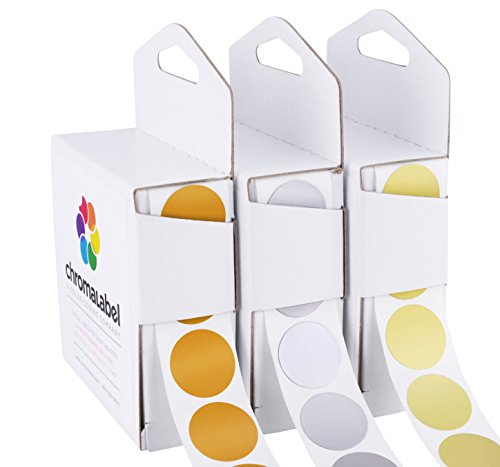 ChromaLabel Metallic Color-Code Dot Label Kit | Assorted Gold, Silver, Bronze | 1,000/Dispenser Box (1 inch) (Foil Dots)