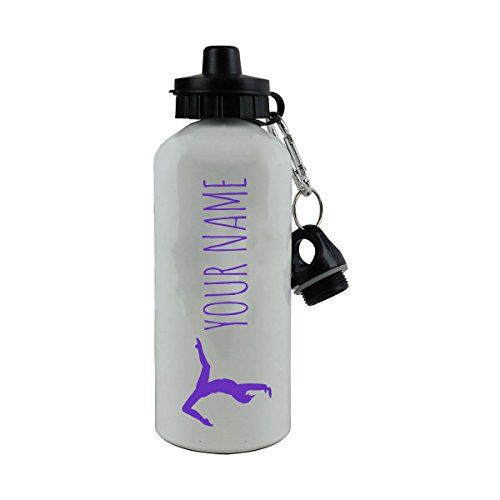 Personalized Custom Gymnastics Design with Name Aluminum White Finish 20 Ounce 600ML Sport Water Bottle Customizable, Purple