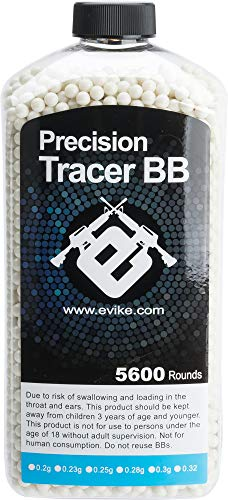 Evike 0.20g Match Grade 6mm Airsoft Glow-in-The-Dark Tracer BB - Green (Qty: 5600 Rounds) ()