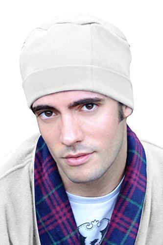 Mens Sleep Cap - 100% Cotton Night Cap for Men - Sleeping Hat White