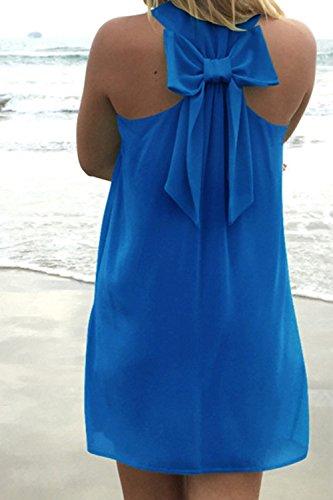 Senza Le Bowknot Beach Tunica Maniche Vestito Donne Estate Con Calda Blue Multicolore SxwtHqS7fr