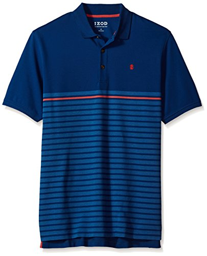 IZOD Men's Big and Tall Short Sleeve Advantage Stripe Polo, Striped Estate Blue, 4X-Large Big (Izod Striped Polo Shirt)