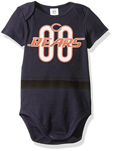 NFL Chicago Bears Unisex-Baby Short-Sleeve Bodysuit, Gray, 18 Months (Bears Cloth Diaper Chicago)