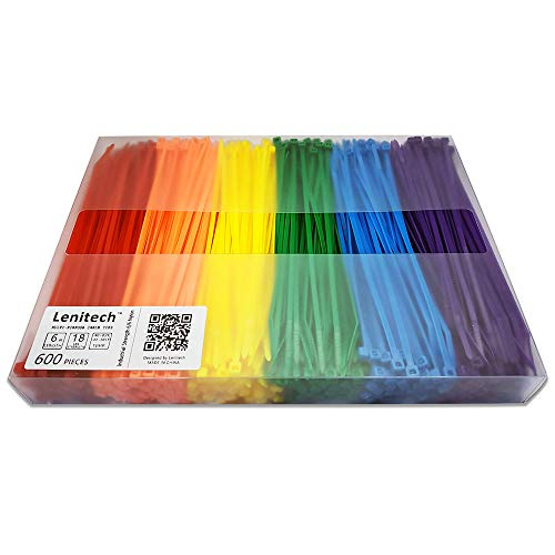 Lenitech 6 Multi-Purpose Cable Ties (300 Piece), Assorted Colored