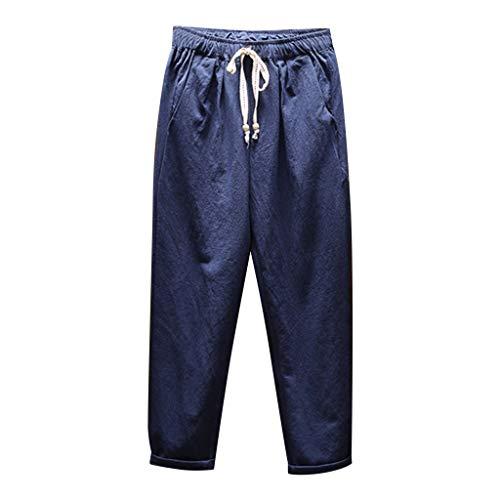 BingYELH Men's Casual Beach Trousers Elastic Loose Fit Lightweight Linen Summer Pants Drawstring Joggers Workout Yoga Pants Navy
