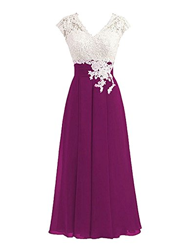 Women's Ivory Lace Top Chiffon Button V-Neck Bridesmaid Dresses with Cap Sleeves Mother of The Bride Dresses (US16, Grape)
