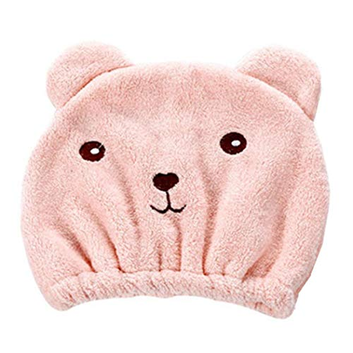 JPJ(TM)_Home decoration 1Pc Microfiber Hair Turban Quickly Dry Hair Hat Wrapped Towel Bathing Cap (Pink)