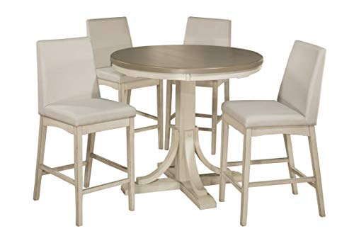 Hillsdale Furniture 4542CTB5S4 Hillsdale Clarion Counter Height Parson Stools 5 Piece Dining Set Distressed Gray/Sea White