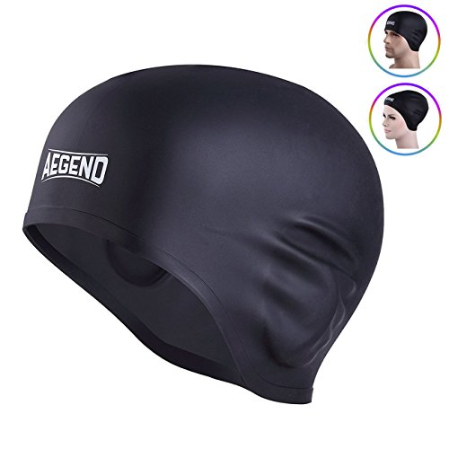 Aegend Adult Silicone Solid Swim Cap Black Swimming Cap for Long Hair with 3D Ergonomic Design Ear Pockets Great Elasticity and No Deformation for Adult Woman Men, Keeps Hair Clean Ear Dry