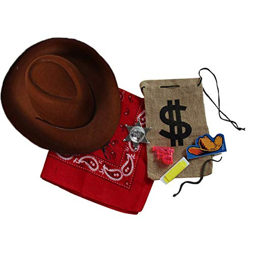(Kids Cowboy / Cowgirl Accessory Dress-Up Set -Brown Hat, Bandanna and Party Favor Bag)