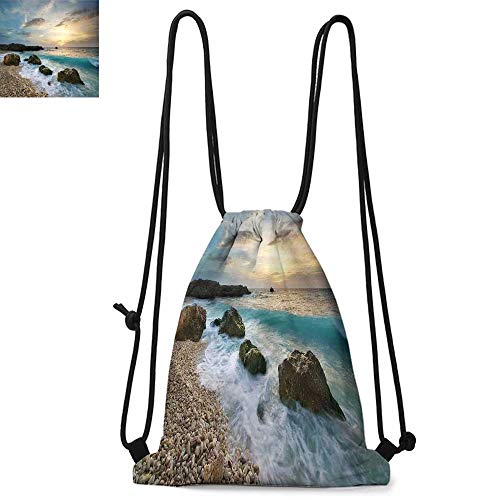 (Ocean Drawstring backpack series Seascape Composition of Nature Rocks Waves Cloudy Sky Rising Sun Beach Photo Convenient choice for daily activities W13.4 x L8.3 Inch Brown Blue Yellow)