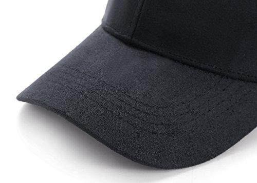 5f2cfdb6cf7 KVMV 6 Panel Faux Suede Leather Classic Adjustable Plain Hat ...